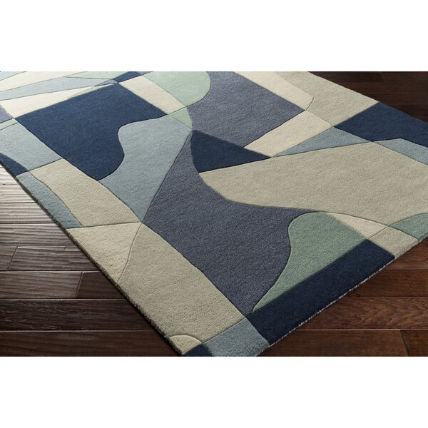Dewald Hand-Tufted Blue Area Rug by Ebern Designs