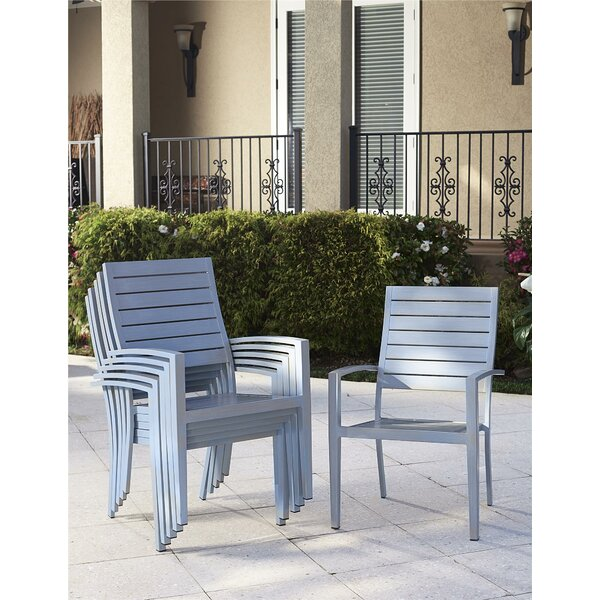 Yohan Stacking Patio Dining Chair with Cushion (Set of 6) by Wade Logan