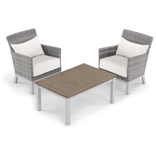 Saint-Pierre 3 Piece Club Chair Conversation Set with Cushions by Brayden Studio