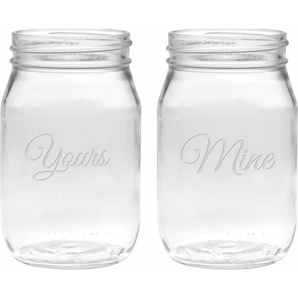 Lindon Deep Etched 16 Oz. Jar Glasses (Set of 2) by Winston Porter