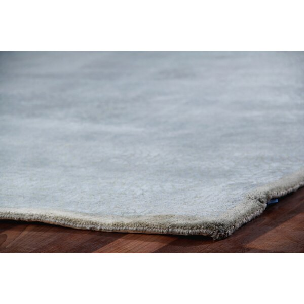 Mosaic Hand Knotted Wool/Silk Light Blue Area Rug by Exquisite Rugs