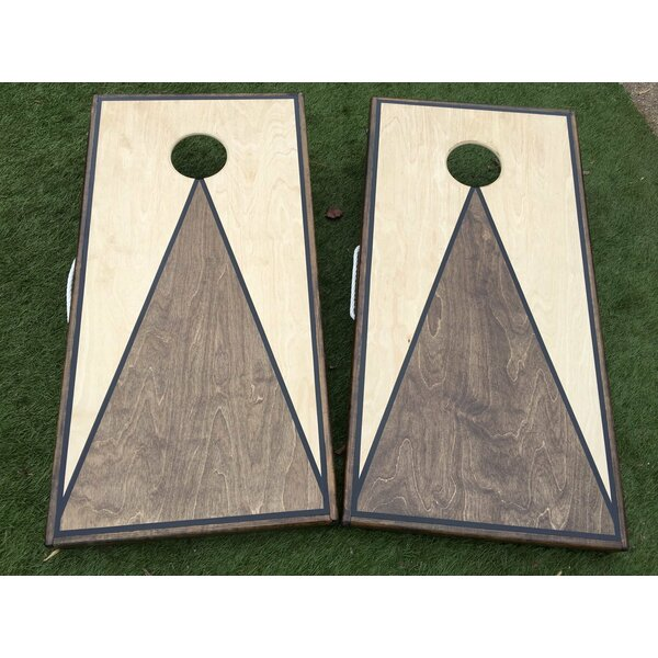 Dual Stained Triangle Cornhole Board with Toss Bags Set by West Georgia Cornhole