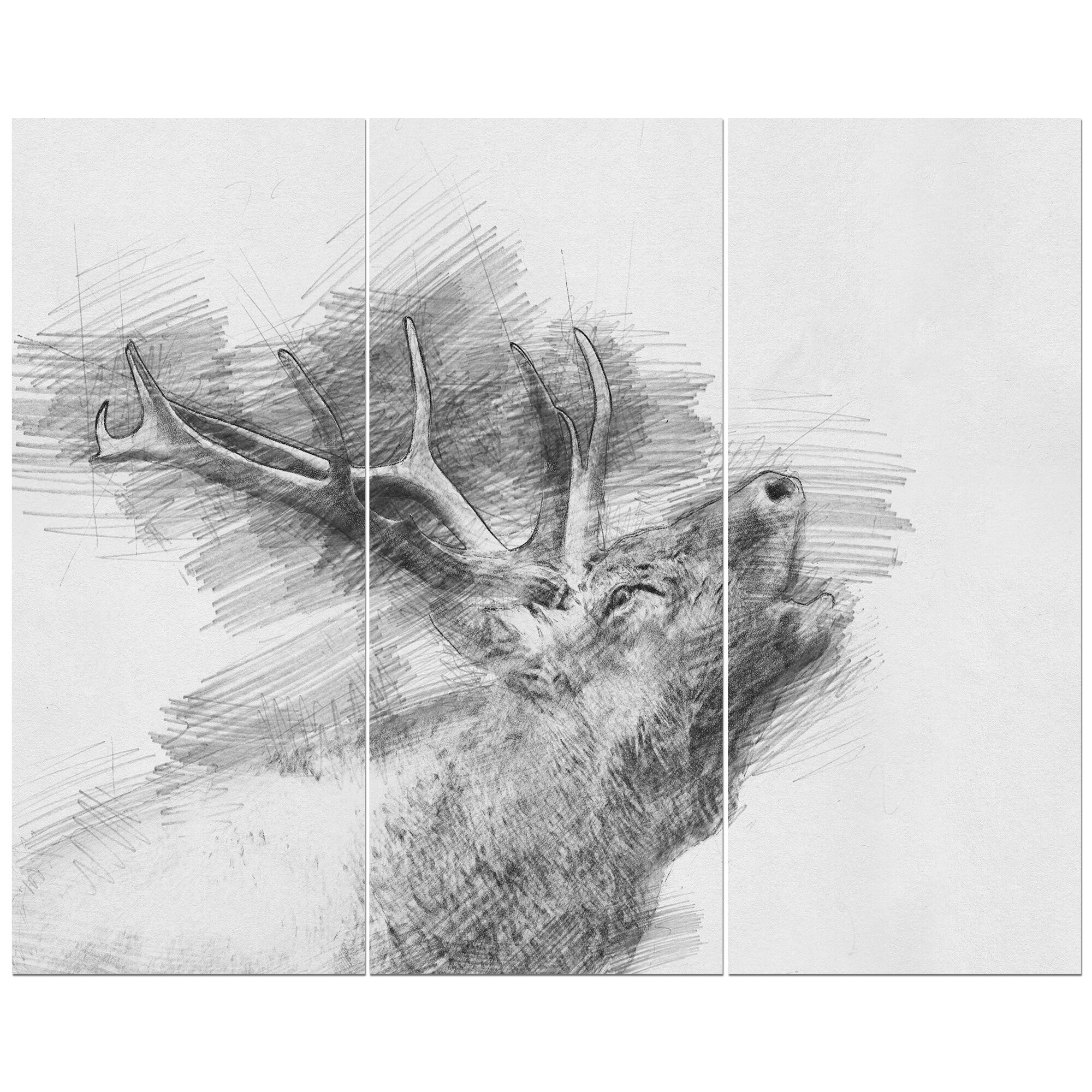 Black and white deer pencil sketch oil painting print multi piece image on wrapped canvas