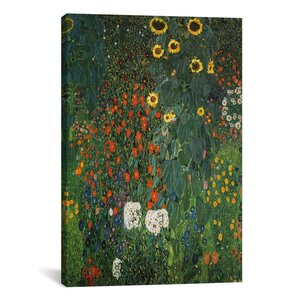'Farm Garden with Sunflowers 1912' by Gustav Klimt Painting Print on Canvas by iCanvas