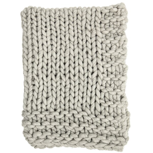 Clotilde Chunky Blend Knit Wool Throw by Gracie Oaks