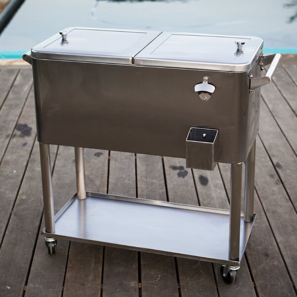 80 Qt. Stainless Steel Patio Rolling Cooler by Permasteel