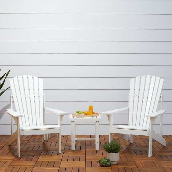 Monterry Patio Wood 3 Piece Conversation Set by Beachcrest Home