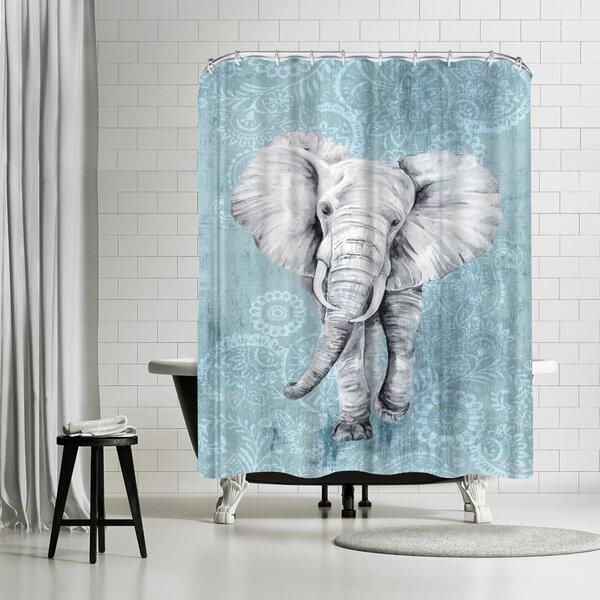 PI Creative Art Blue Paisley Elephant Shower Curtain by East Urban Home