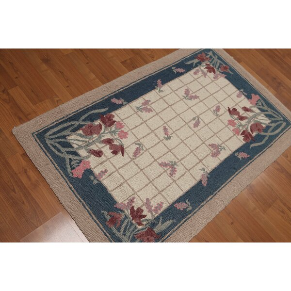 One-of-a-Kind DeBarros Hand-Knotted Wool Beige/Blue Area Rug by August Grove
