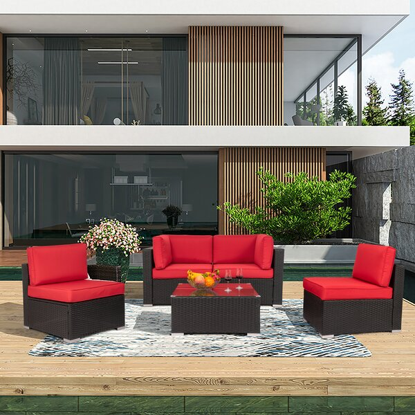Swain 5 Piece Rattan Sofa Seating Group with Cushions by Ebern Designs