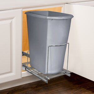 Roll Out Bin Holder – Pull Out Drawer – Under Cabinet Sliding Organizer – 10.1 inch wide x 20.02 inch deep – Chrome