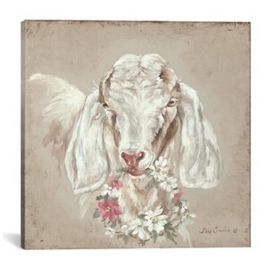 'Goat with Wreath' Painting Print on Wrapped Canvas by Ophelia & Co.