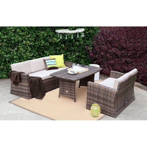 Spicer 3 Piece Rattan Sofa Seating Group with Cushions by Rosecliff Heights