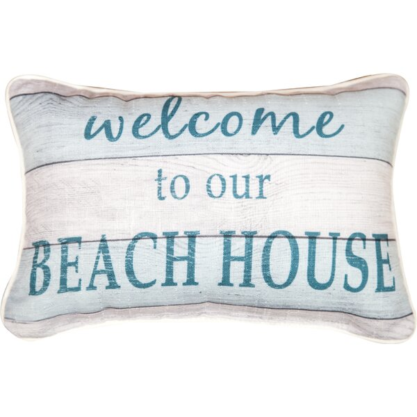 Welcome to Our Beach House Word Cotton Lumbar Pillow by Manual Woodworkers & Weavers