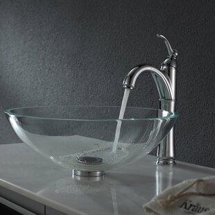 Top Crystal Glass Circular Vessel Bathroom Sink By Kraus