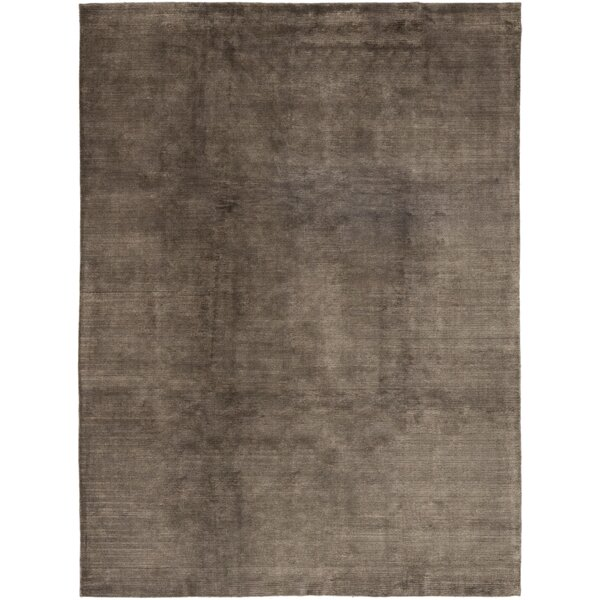 One-of-a-Kind Rowlett Hand-Knotted Wool/Silk Brown Indoor Area Rug by Loon Peak