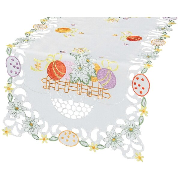 Country Egg Embroidered Cutwork Table Runner by The Holiday Aisle