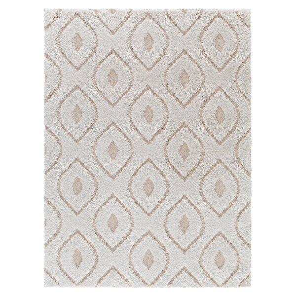 Darwin Modern Platinum Shag White Area Rug by Corr