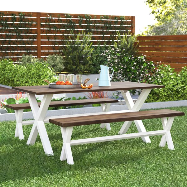 Outdoor Acacia Wood 3 Piece Dining Set By Gracie Oaks