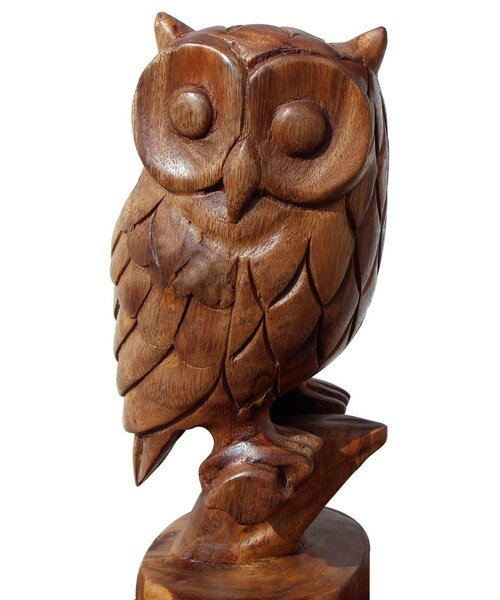 Hand Carved Owl Figurine by Asian Art Imports