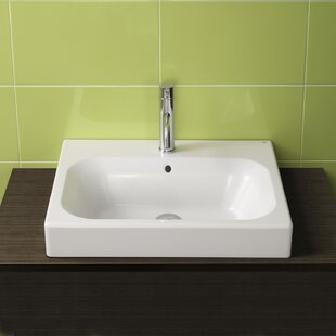 Compare Universal Ceramic Rectangular Drop-In Bathroom Sink with Overflow By Bissonnet