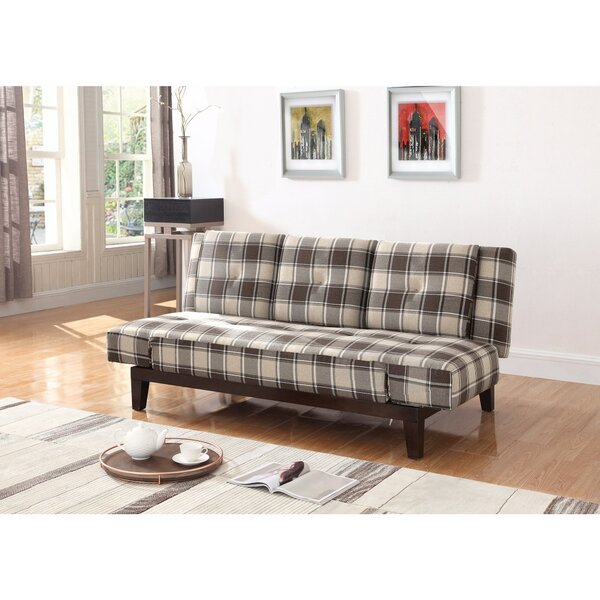 Vantassel Mid Century Plaid Convertible Sofa by Millwood Pines