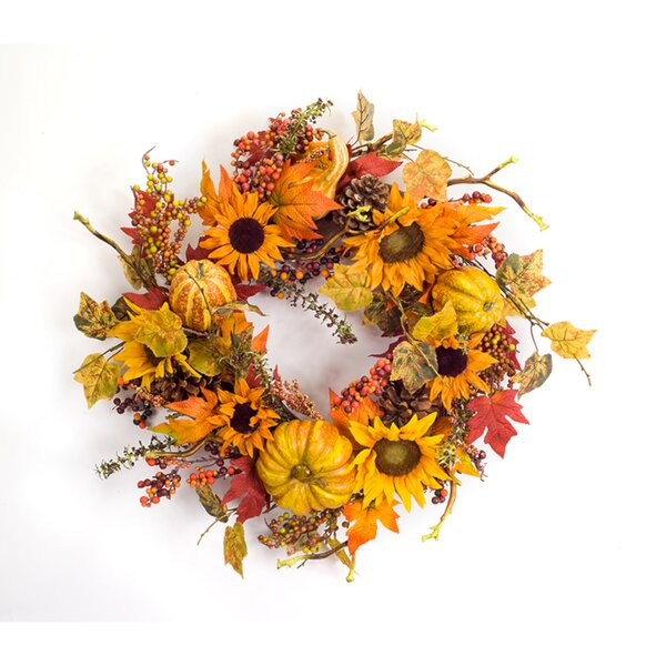 Sunflower/Gourd 23 Foam Wreath by The Holiday Aisle