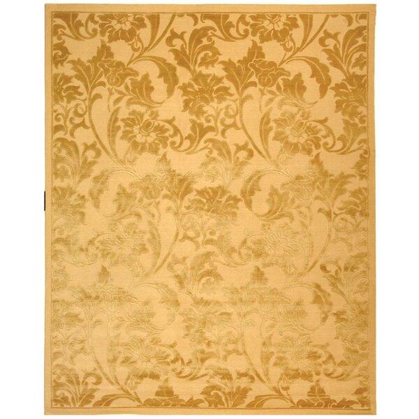 Claussen Tibetan Hand Knotted Silk/Wool Beige/Light Gold Area Rug by Fleur De Lis Living