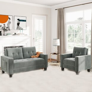 Sofa Set Morden Style Couch Furniture Upholstered Armchair, Loveseat And Three Seat For Home Or Office (1+2 Seat) by Latitude Run®