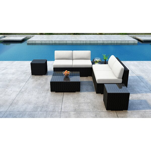 Glendale 7 Piece Rattan Sectional Seating Group with Sunbrella Cushions by Everly Quinn