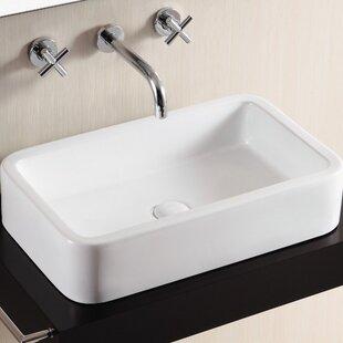 Inexpensive Ceramica II Ceramic Rectangular Vessel Bathroom Sink By Caracalla