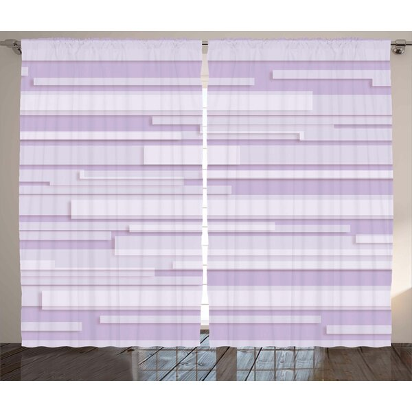 Crumrine Modern Contemporary Artistic Stone like Linear Band Motif in Pastel Tones Artwork Graphic Print & Text Semi-Sheer Rod Pocket Curtain Panels (Set of 2) by Latitude Run