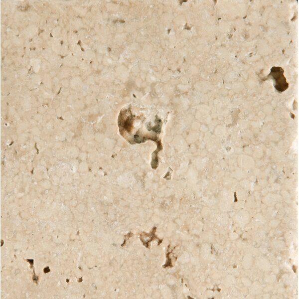 Travertine 4 x 4 Tile in Cream Tumbled by Emser Tile