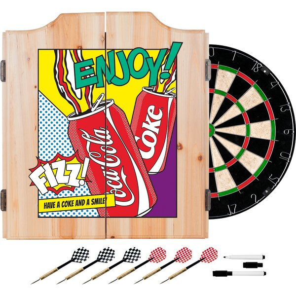 Coca Cola Pop Art Dartboard and Cabinet Set by Trademark Global