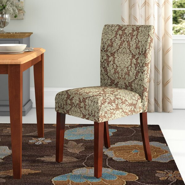 Thorsen Upholstered Damask Parsons Chair In Brown/Beige (Set Of 2) By Charlton Home
