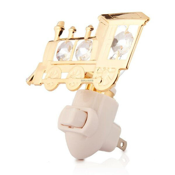24K Gold Plated Locomotive Night Light by Matashi Crystal