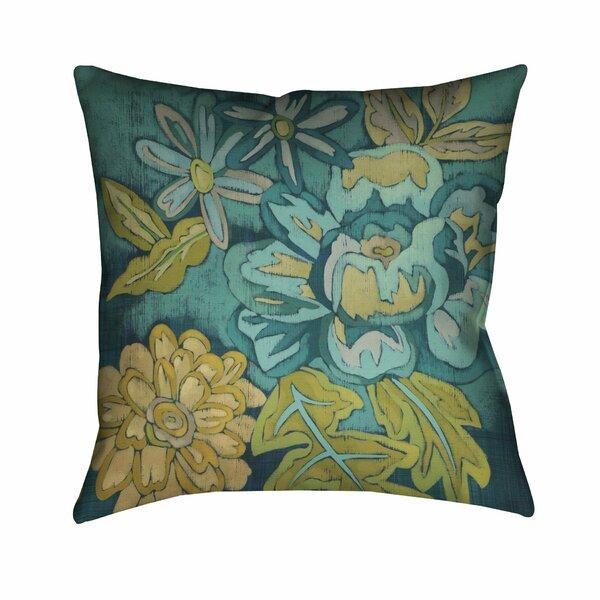 Steve Teal Bouquet Outdoor Throw Pillow