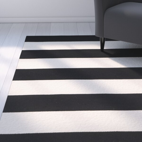 Skyler Hand-Woven Cotton Black/Ivory Area Rug by Zipcode Design