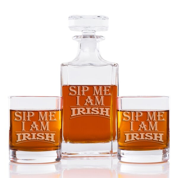 Sip Me I Am Irish Classic Square 3 Piece Beverage Serving Set by The Holiday Aisle