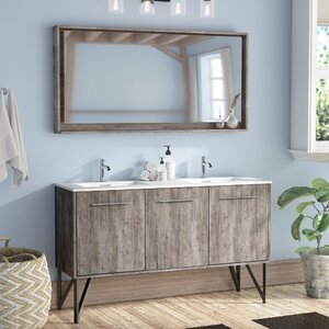 bathroom vanity. Ellison Nature Wood 60  Double Bathroom Vanity with Mirror Modern Vanities Cabinets AllModern