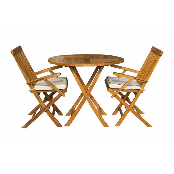 Stansell 3 Piece Teak Sunbrella Bistro Set with Cushions by Highland Dunes