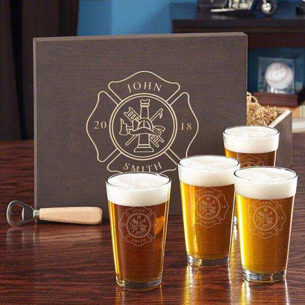 Firefighter Custom 16 oz. Glass Pint Glass by Home Wet Bar