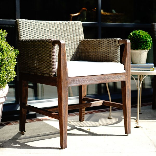 Salyer Outdoor Teak Patio Dining Chair with Cushion by Highland Dunes
