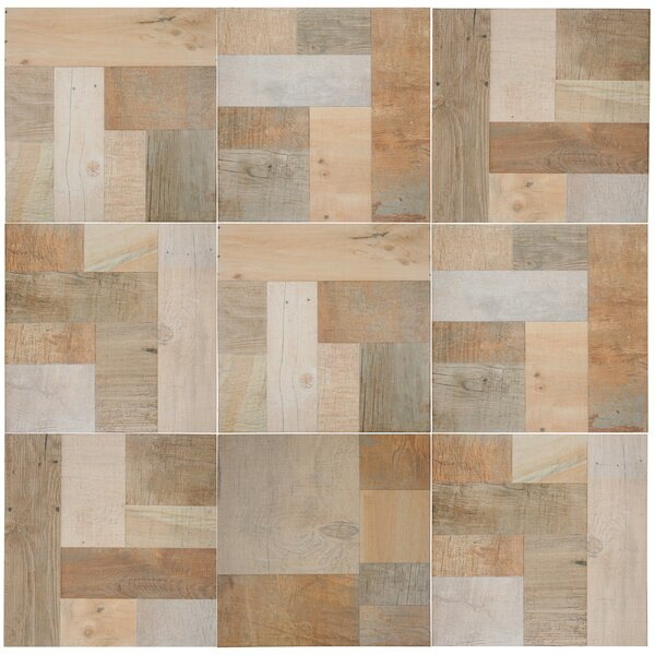 Cabin 17.38 x 17.38 Porcelain Wood Look/Field Tile in Beige by EliteTile