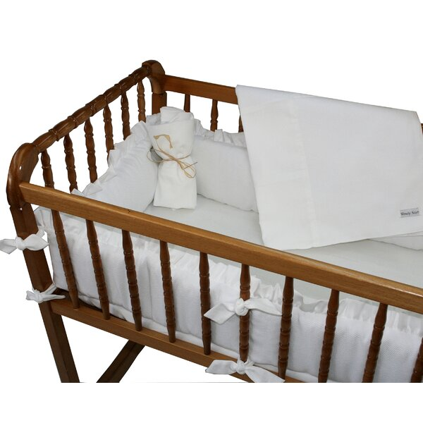 White Pique Cradle Bedding Set By Wendy Anne.