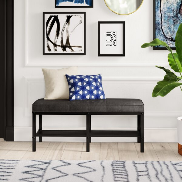 Zona Faux Leather Cubby Storage Bench