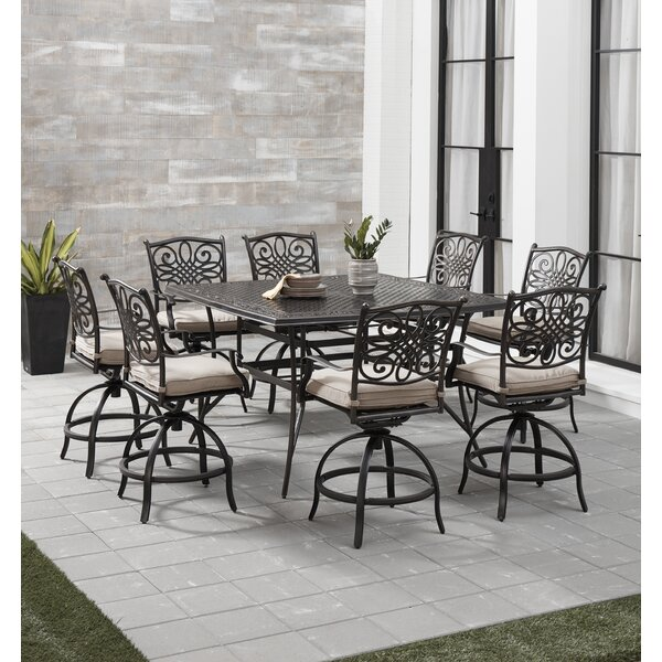 Carleton 5 Piece High Dining Set with Cushions by Fleur De Lis Living