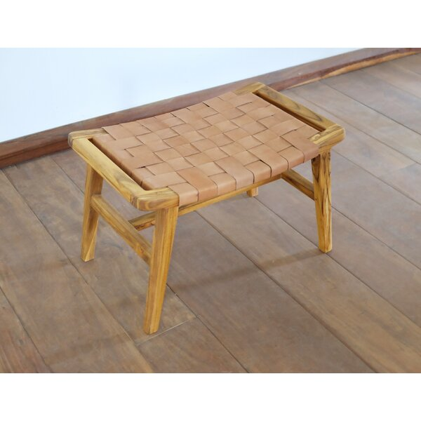 Natural And Teak Leather Ottoman By Masaya & Co