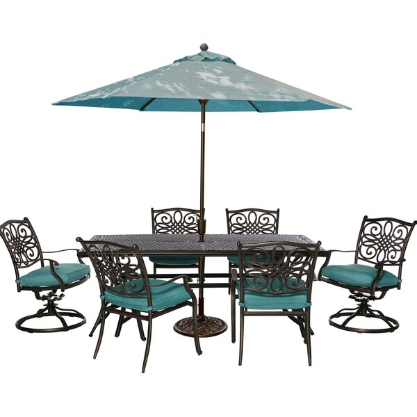 Carleton 7 Piece Dining Set with Foam Cushions by Fleur De Lis Living