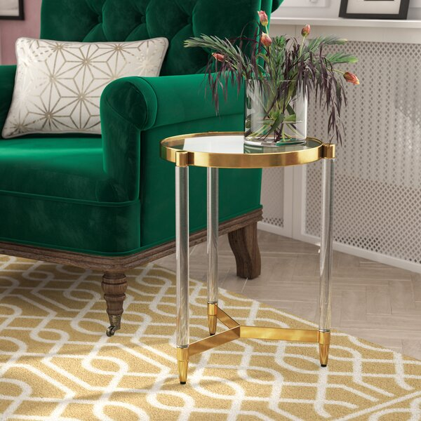 Sudie Glass End Table by Everly Quinn